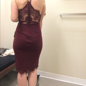 Maroon ASTR dress with lace detail